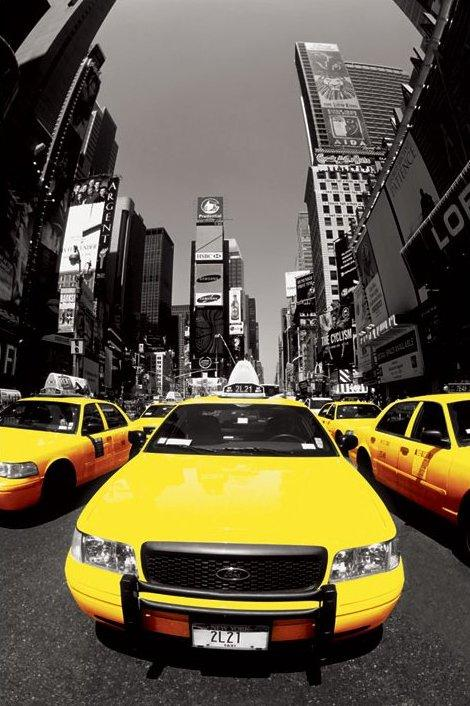 affiches posters affiche taxi jaune de new york. Black Bedroom Furniture Sets. Home Design Ideas