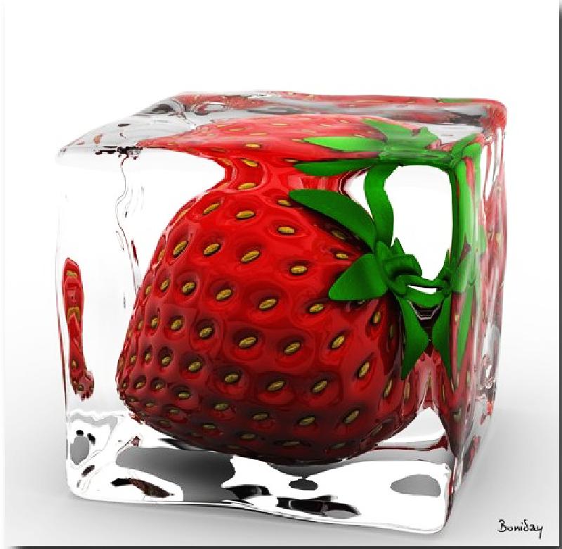 Tableau plexi d 39 une fraise dans un gla on acheter tableau plexi d 39 u - Tableau plexi personnalise ...