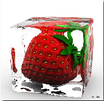 Tableau plexi d'une fraise dans un glaçon