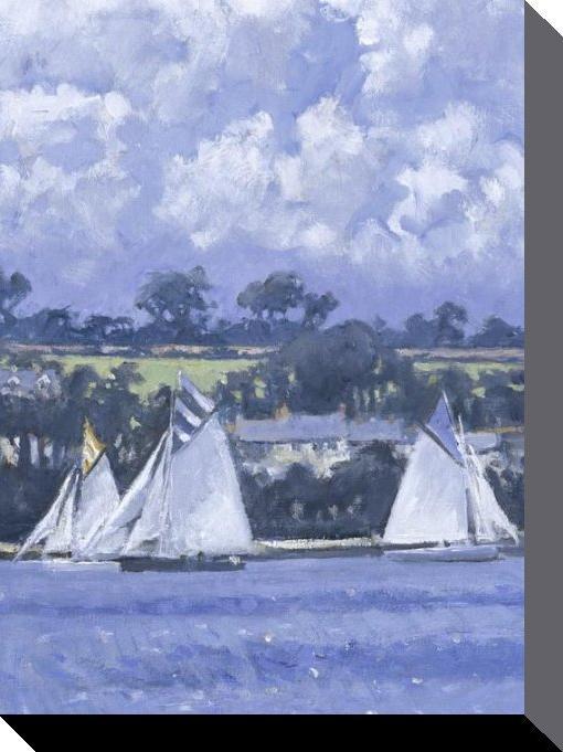 reproduction sur toile d 39 une peinture de robert jones les voiliers sur le lac i acheter. Black Bedroom Furniture Sets. Home Design Ideas