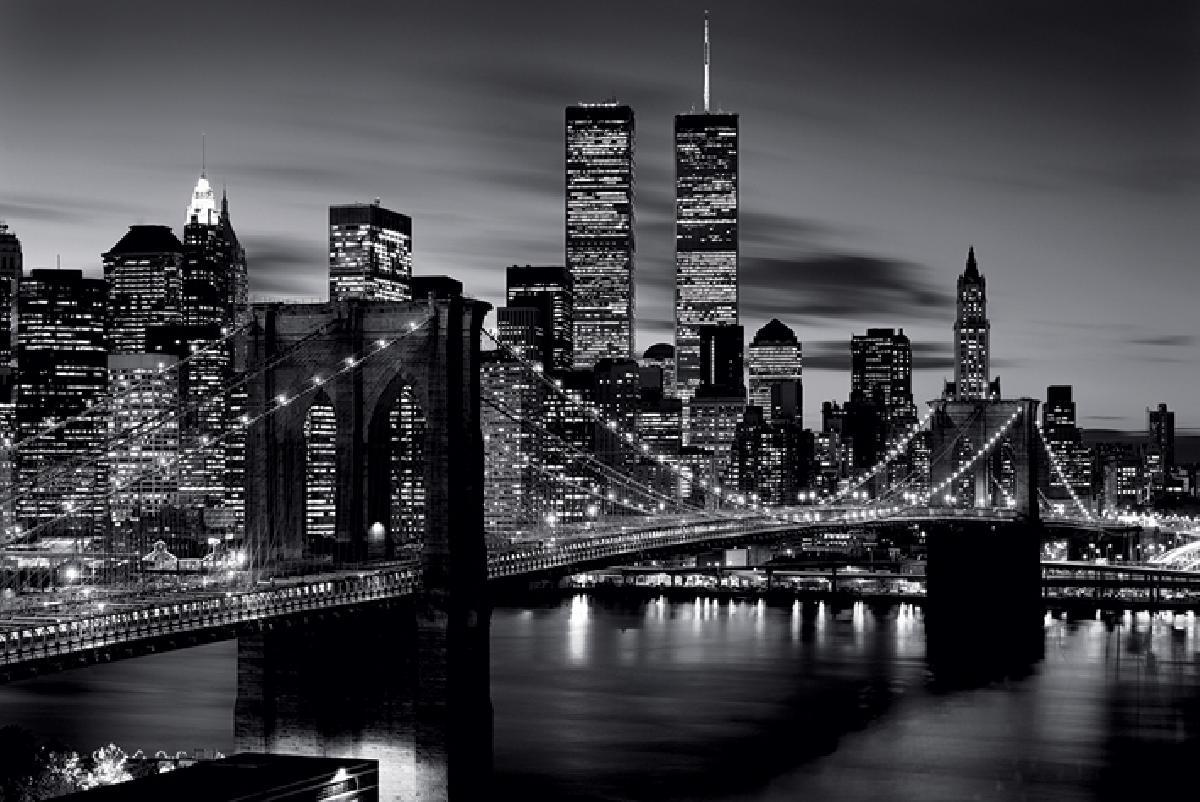 poster noir & blanc du pont de brooklyn à new york - acheter
