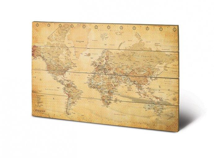 impression sur bois world map acheter impression sur bois world map 7273 affiches et. Black Bedroom Furniture Sets. Home Design Ideas