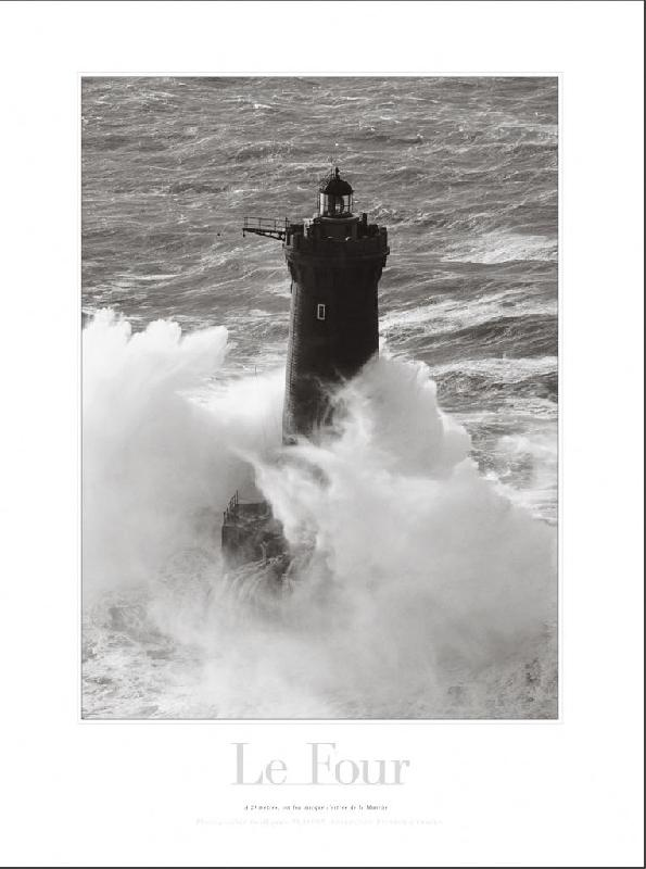 poster photo noir et blanc du le phare du four bretagne acheter poster photo noir et blanc. Black Bedroom Furniture Sets. Home Design Ideas