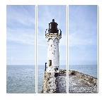 Toile imprimée tryptique Le phare de Saint-Valéry-en-Caux - Couleur